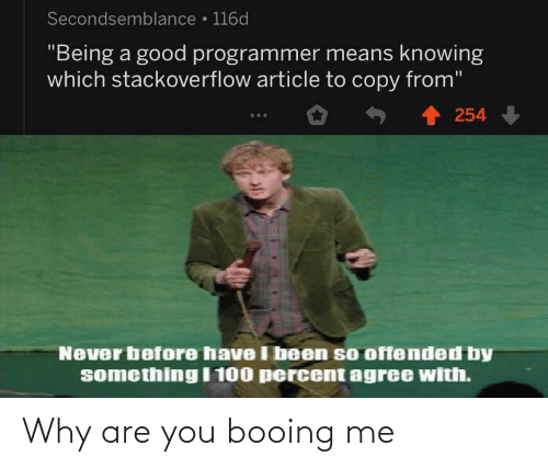"offended: Secondsemblance • 116d  ""Being a good programmer means knowing  which stackoverflow article to copy from""  254  Never before have I been so offended by  something I 100 percent agree with. Why are you booing me"