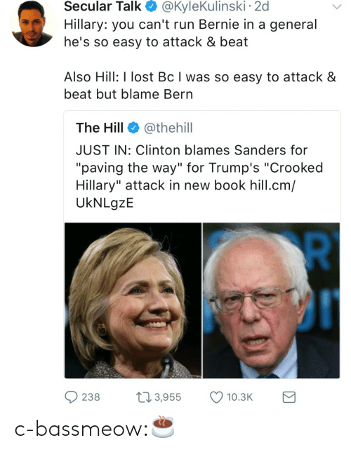 "Bern: Secular  Talk  @KyleKulinski  2d  Hillary: you can't run Bernie in a general  he's so easy to attack & beat  Also Hill: I lost Bc I was so easy to attack &  beat but blame Bern  The Hill @thehill  JUST IN: Clinton blames Sanders for  ""paving the way"" for Trump's ""Crooked  Hillary"" attack in new book hill.cm/  UkNLgzE  238 3,955 10.3 c-bassmeow:☕️"