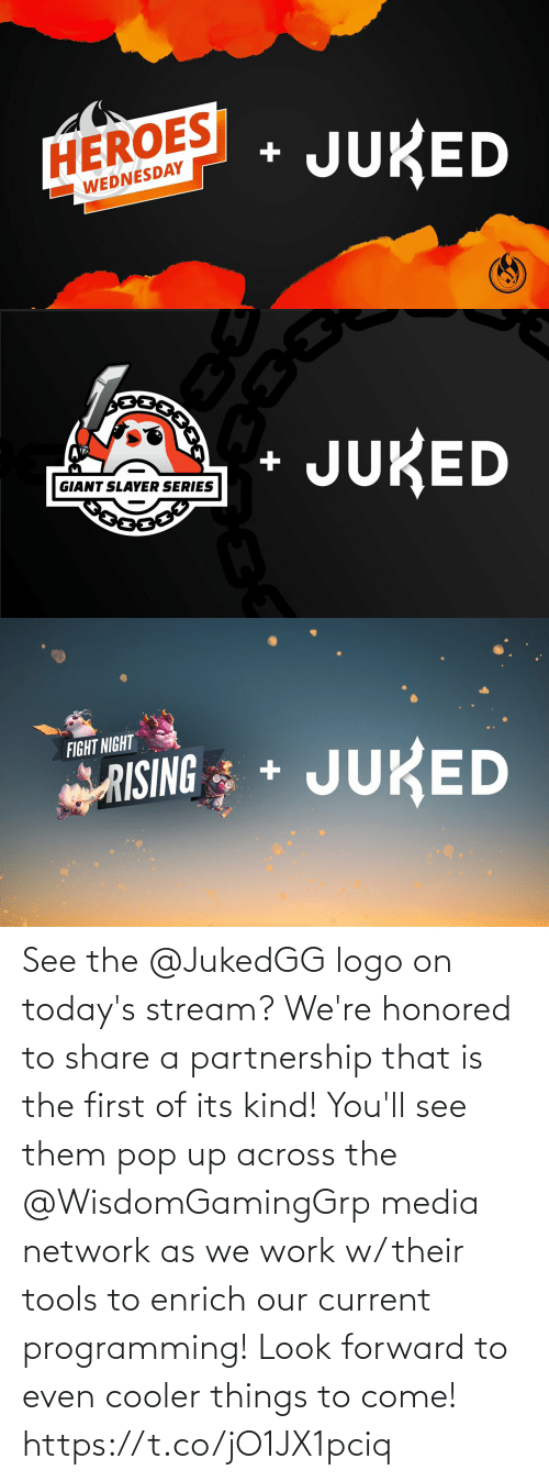 pop: See the @JukedGG logo on today's stream?  We're honored to share a partnership that is the first of its kind! You'll see them pop up across the @WisdomGamingGrp media network as we work w/ their tools to enrich our current programming!  Look forward to even cooler things to come! https://t.co/jO1JX1pciq