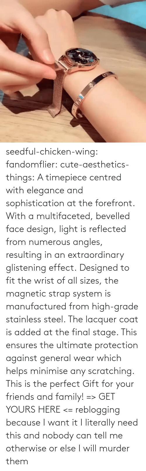 Which: seedful-chicken-wing: fandomflier:  cute-aesthetics-things:   A timepiece centred with elegance and sophistication at the forefront. With a multifaceted, bevelled face design, light is reflected from numerous angles, resulting in an extraordinary glistening effect. Designed to fit the wrist of all sizes, the magnetic strap system is manufactured from high-grade stainless steel. The lacquer coat is added at the final stage. This ensures the ultimate protection against general wear which helps minimise any scratching. This is the perfect Gift for your friends and family! => GET YOURS HERE <=   reblogging because I want it  I literally need this and nobody can tell me otherwise or else I will murder them