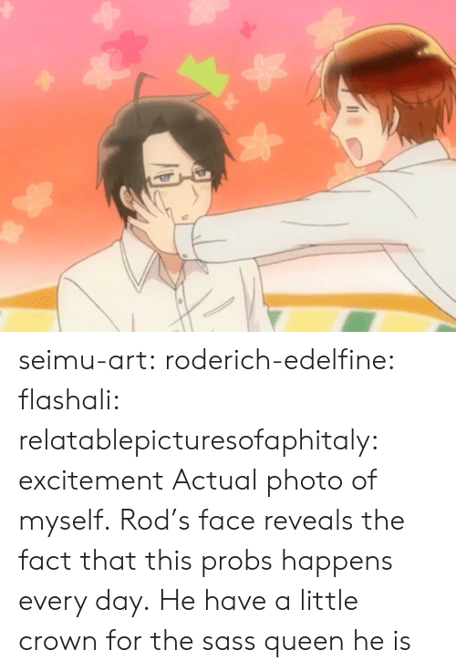 excitement: seimu-art:  roderich-edelfine:  flashali: relatablepicturesofaphitaly:  excitement  Actual photo of myself.  Rod's face reveals the fact that this probs happens every day.  He have a little crown for the sass queen he is