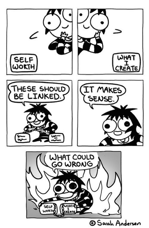 andersen: SELF  WOKTH  WHAT  THESE SHOULD(IT MAkES  BE LINKED  SENSE.  WHAT COULD  SELF  WOR  AT  OSarah Andersen