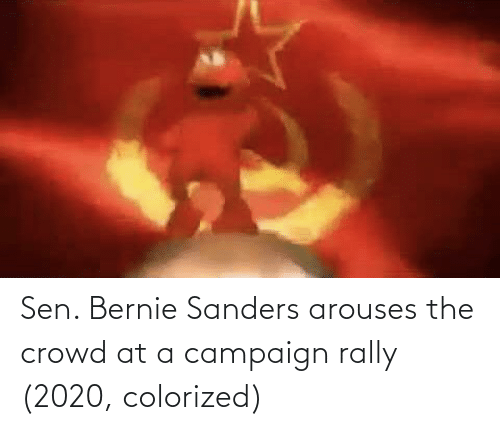 Bernie Sanders: Sen. Bernie Sanders arouses the crowd at a campaign rally (2020, colorized)