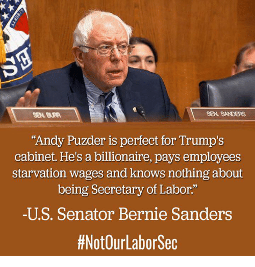 """Senations: SEN. SANDERS  """"Andy Puzder is perfect for Trump's  cabinet. He's a billionaire, pays employees  starvation wages and knows nothing about  being Secretary of Labor.""""  -U S. Senator Bernie Sanders  #NotOurLabor Sec"""