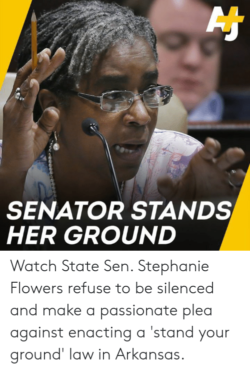 Memes, Arkansas, and Flowers: SENATOR STANDS  HER GROUND Watch State Sen. Stephanie Flowers refuse to be silenced and make a passionate plea against enacting a 'stand your ground' law in Arkansas.