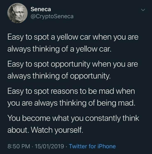 Iphone, Twitter, and Opportunity: Seneca  @CryptoSeneca  Easy to spot a yellow car when you are  always thinking of a yellow car.  Easy to spot opportunity when you are  always thinking of opportunity  Easy to spot reasons to be mad when  you are always thinking of being mad.  You become what you constantly think  about. Watch yourself.  8:50 PM .15/01/2019 Twitter for iPhone
