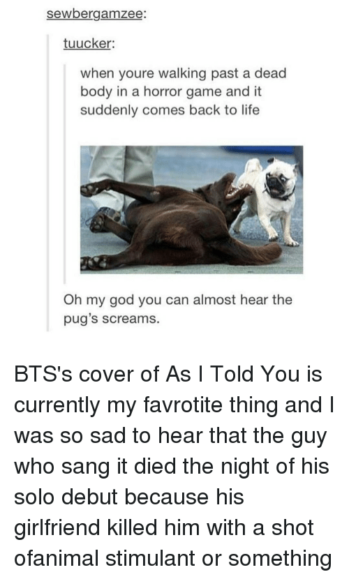 horror games: sewbergamazee  tuucker:  when youre walking past a dead  body in a horror game and it  suddenly comes back to life  Oh my god you can almost hear the  pug's screams. BTS's cover of As I Told You is currently my favrotite thing and I was so sad to hear that the guy who sang it died the night of his solo debut because his girlfriend killed him with a shot ofanimal stimulant or something