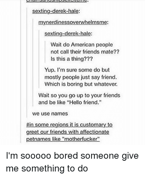 "Be Like, Bored, and Friends: sexting-derek-hale:  mynerdinessoverwhelmsme:  sexting-derek-hale:  Wait do American people  not call their friends mate??  Is this a thing???  Yup. I'm sure some do but  mostly people just say friend.  Which is boring but whatever.  Wait so you go up to your friends  and be like ""Hello friend.""  we use names  #in some regions it is customary to  greet our friends with affectionate  petnames like ""motherfucker"" I'm sooooo bored someone give me something to do"