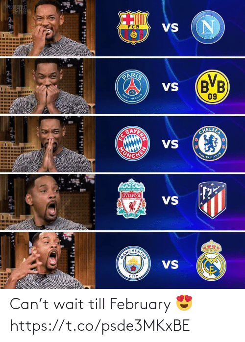 february: SFOOTBEL  HRENA  VS  FCB  PARIS  (B'B  09  VS  SAINT  GERMAIN  AVERIN  VS  OHELSER  CHEN  HONDA  CLUB  FOOTBALL  YOUL NEVER WALKALONE  LIVERPOOL  VS  FOOTBALL CLUS  EST 1892  VS  CITY  STER Can't wait till February 😍 https://t.co/psde3MKxBE