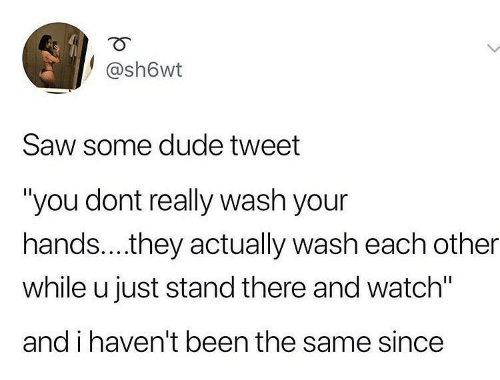 "Havent: @sh6wt  Saw some dude tweet  ""you dont really wash your  hands..they actually wash each other  while u just stand there and watch""  and i haven't been the same since"