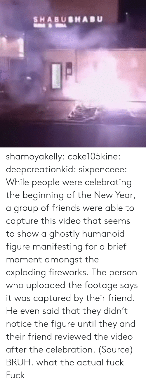 Bruh, Friends, and New Year's: SHABUSHABU shamoyakelly: coke105kine:   deepcreationkid:  sixpenceee:  While people were celebrating the beginning of the New Year, a group of friends were able to capture this video that seems to show a ghostly humanoid figure manifesting for a brief moment amongst the exploding fireworks. The person who uploaded the footage says it was captured by their friend. He even said that they didn't notice the figure until they and their friend reviewed the video after the celebration. (Source)  BRUH.   what the actual fuck   Fuck
