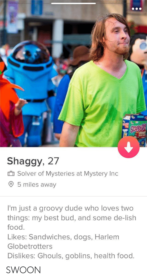 ghouls: Shaggy, 27  I Solver of Mysteries at Mystery Ind  5 miles away  I'm just a groovy dude who loves two  things: my best bud, and some de-lish  food.  Likes: Sandwiches, dogs, Harlem  Globetrotters  Dislikes: Ghouls, goblins, health food. SWOON