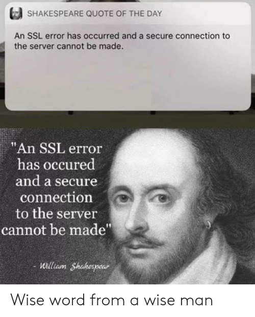 """Shakespeare, Word, and Ssl: SHAKESPEARE QUOTE OF THE DAY  An SSL error has occurred and a secure connection to  the server cannot be made.  """"An SSL error  has occured  and a secure  connection  to the server  cannot be made""""  William Shakespear Wise word from a wise man"""