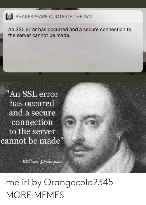 """Dank, Memes, and Shakespeare: SHAKESPEARE QUOTE OF THE DAY  An SSL error has occurred and a secure connection to  the server cannot be made.  """"An SSL error  has occured  and a secure  connection  to the server  cannot be made""""  William Shakespear me irl by Orangecola2345 MORE MEMES"""