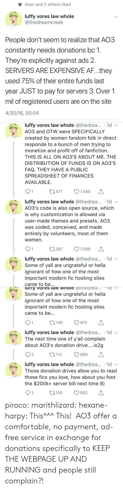 open source: shan and 2 others liked  luffy vores law whole  @thedreamcreek  People don't seem to realize that AO3  constantly needs donations bc 1.  Theyre explicitly against ads 2.  SERVERS ARE EXPENSIVE AF...they  used 75% of their entire funds last  year JUST to pay for servers 3. Over1  mil of registered users are on the site  4/30/18, 00:04   luffy vores law whole @thedrea... 1d v  AO3 and OTW were SPECIFICALLY  created by women fandom folk in direct  responde to a bunch of men trying to  monetize and profit off of fanfiction.  THIS IS ALL ON AO3'S ABOUT ME. THE  DISTRIBUTION OF FUNDS IS ON AO3'S  FAQ. THEY HAVE A PUBLIC  SPREADSHEET OF FINANCES  AVAILABLE.  01 0471 1445  luffy vores law whole @thedrea... 1d  AO3's code is also open source, which  is why customization is allowed via  user-made themes and presets. AO3  was coded, conceived, and made  entirely by volunteers, most of them  womern  luffy vores law whole @thedrea... 1d  Some of yall are ungrateful or hella  ignorant of how one of the most  important modern fic hosting sites  came to be..   urry vores law wnoie cotneareaTa  Some of yall are ungrateful or hella  ignorant of how one of the most  important modern fic hosting sites  came to be..  t0149 974  luffy vores law whole @thedrea... 1d v  The next time one of y'all complain  about AO3's donation drive....is2g  92 t112 860 T  luffy vores law whole @thedrea... 1d  Those donation drives allow you to read  those fics you love, how about you foot  the $200k+ server bill next time 8) piroco: marithlizard:  hexane-harpy: This^^^ This!  AO3 offer a comfortable, no payment, ad-free service in exchange for donations specifically to KEEP THE WEBPAGE UP AND RUNNING and people still complain?!