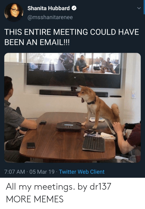 Dank, Memes, and Target: Shanita Hubbard  @msshanitarenee  THIS ENTIRE MEETING COULD HAVE  BEEN AN EMAIL!!  7:07 AM 05 Mar 19 Twitter Web Client All my meetings. by dr137 MORE MEMES
