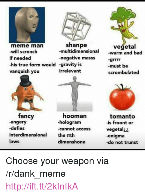 """Vegetal: shanpe  -multidimensio  -negative masssgrrrr  -gravity is  irrelevant  meme man  vegetal  nal warm and bad  will scronch  if needed  -his true form would  vanquish you  -must be  scrombulated  fancy  -angery  -defies  interdimensional the nth  laws  hooman  -hologram  -cannot access  tomanto  -is froont or  vegetal¿¿  -enigma  -do not trunst  dimenshone <p>Choose your weapon via /r/dank_meme <a href=""""http://ift.tt/2kInIkA"""">http://ift.tt/2kInIkA</a></p>"""