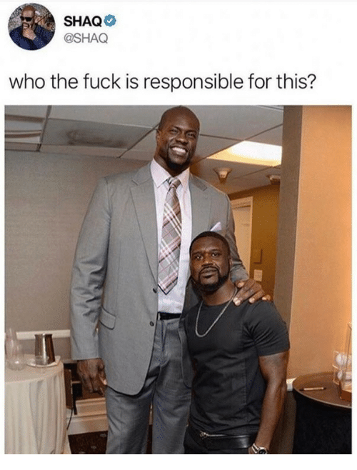 Shaq, Fuck, and Who: SHAQ  @SHAQ  who the fuck is responsible for this?