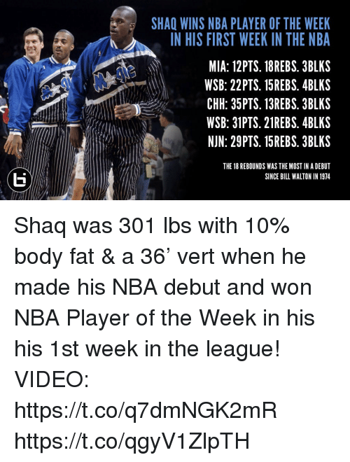 Memes, Nba, and Shaq: SHAQ WINS NBA PLAYER OF THE WEEK  N HIS FIRST WEEK IN THE NBA  MIA: 12PTS. 18REBS. 3BLKS  WSB: 22PTS. 15REBS. 4BLKS  CHH: 35PTS. 13REBS. 3BLKS  WSB: 31PTS. 21REBS. 4BLKS  NJN: 29PTS. 15REBS. 3BLKS  ttC  THE 18 REBOUNDS WAS THE MOST IN A DEBUT  SINCE BILL WALTON IN 1974 Shaq was 301 lbs with 10% body fat & a 36' vert when he made his NBA debut and won NBA Player of the Week in his his 1st week in the league!   VIDEO: https://t.co/q7dmNGK2mR https://t.co/qgyV1ZlpTH