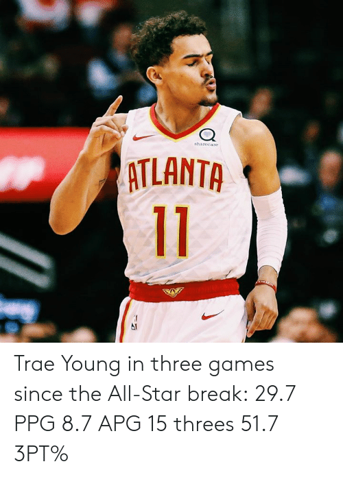All Star, Break, and Games: sharecare  ATLANTA Trae Young in three games since the All-Star break:  29.7 PPG 8.7 APG 15 threes 51.7 3PT%