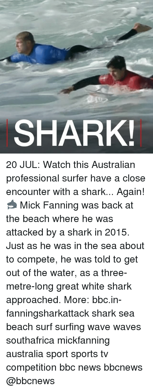 sharking: SHARK 20 JUL: Watch this Australian professional surfer have a close encounter with a shark... Again! 🦈 Mick Fanning was back at the beach where he was attacked by a shark in 2015. Just as he was in the sea about to compete, he was told to get out of the water, as a three-metre-long great white shark approached. More: bbc.in-fanningsharkattack shark sea beach surf surfing wave waves southafrica mickfanning australia sport sports tv competition bbc news bbcnews @bbcnews