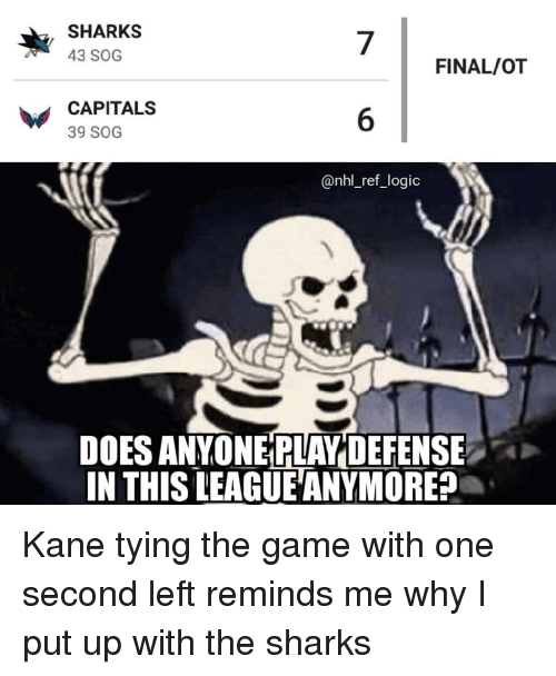 kane: SHARKS  43 SOG  7  6  @nhl_ref_logic  FINAL/OT  CAPITALS  39 SOG  DOES ANYONE PLAY DEFENSE  IN THIS LEAGUE ANYMORE? Kane tying the game with one second left reminds me why I put up with the sharks