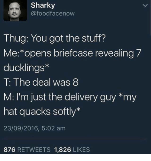 Thug, Stuff, and Humans of Tumblr: Sharky  @foodfacenow  Thug: You got the stuff?  Me:*opens briefcase revealing 7  ducklings*  T: The deal was 8  M: I'm just the delivery guy *my  hat quacks softly*  23/09/2016, 5:02 am  876 RETWEETS 1,826 LIKES
