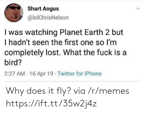bird: Shart Angus  @lolChrisNelson  I was watching Planet Earth 2 but  I hadn't seen the first one so Im  completely lost. What the fuck is a  bird?  2:27 AM 16 Apr 19 Twitter for iPhone Why does it fly? via /r/memes https://ift.tt/35w2j4z