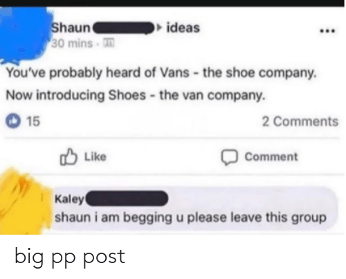 15 2: Shaun  30 mins  ideas  You've probably heard of Vans - the shoe company.  Now introducing Shoes - the van company.  O 15  2 Comments  O Like  Comment  Kaley  shaun i am begging u please leave this group big pp post