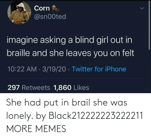 lonely: She had put in brail she was lonely. by Black212222223222211 MORE MEMES