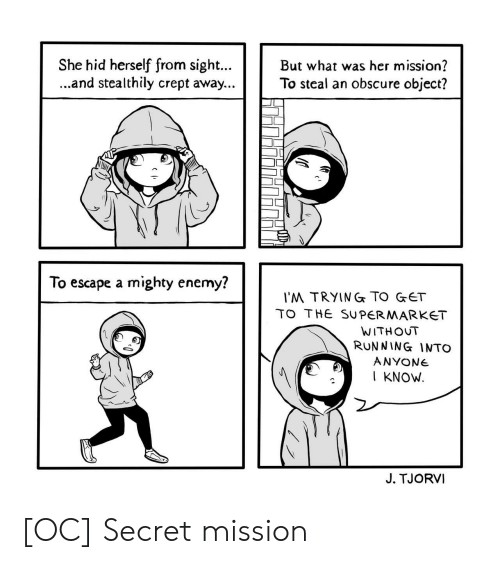 obscure: She hid herself from sigh.But what was her mission?  ...and stealthily crept away...To steal an obscure object?  To escape a mighty enemy?  'M TRYING TO GET  TO THE SUPERMARKET  WITHOUT  RUNNING INTO  ANYONe  I KNOW  J. TJORVI [OC] Secret mission