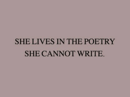 Poetry, She, and  Lives: SHE LIVES IN THE POETRY  SHE CANNOT WRITE