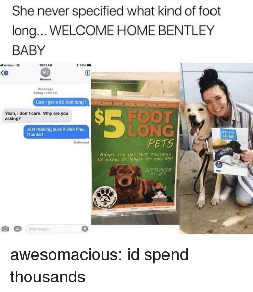 welcome-home: She never specified what kind of foot  long... WELCOME HOME BENTLEY  BABY  l Verizon LTE  t 91%-  1:11AM  MJ  Mamma  Ko  Message  Today 11 00 AM  Can l get a $5 foot lon  Rim ElrKR  S-FOOT  LONG  PETS  Yeah, i don't care. Why are you  asking?  Just making sure it was fine.  Thanks  HOME  Delivered  Adopt any pet that measures  12 inches or longer for only s5!  SEPTEMBER  み)  ¡Message  0 awesomacious:  id spend thousands