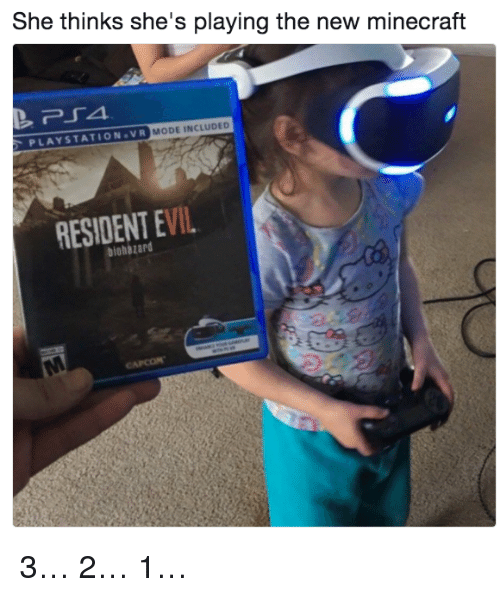 minecrafte: She thinks she's playing the new minecraft  PLAYSTATION.VR  MODE INCLUDED  RESIDENT EVIL  biohazard 3… 2… 1…