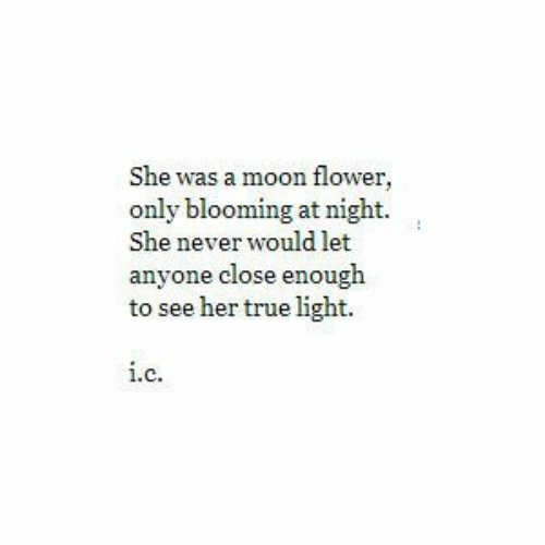 True, Flower, and Moon: She was a moon flower,  only blooming at night.  She never would let  anyone close enough  to see her true light.  1.  C.