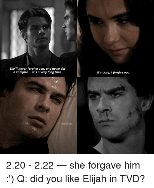 I Forgive You: She'll never forgive you, and never for  a vampire... it's a very long time.  It's okay, i forgive you.  TVDSEDITS 2.20 - 2.22 — she forgave him :') Q: did you like Elijah in TVD?