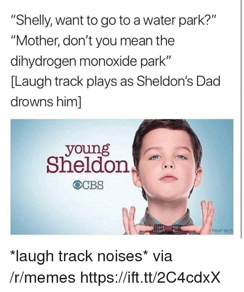"""Drowns: """"Shelly, want to go to a water park?""""  """"Mother, don't you mean the  dihydrogen monoxide park""""  [Laugh track plays as Sheldon's Dad  drowns him]  young  Sheldon  Paparaco *laugh track noises* via /r/memes https://ift.tt/2C4cdxX"""