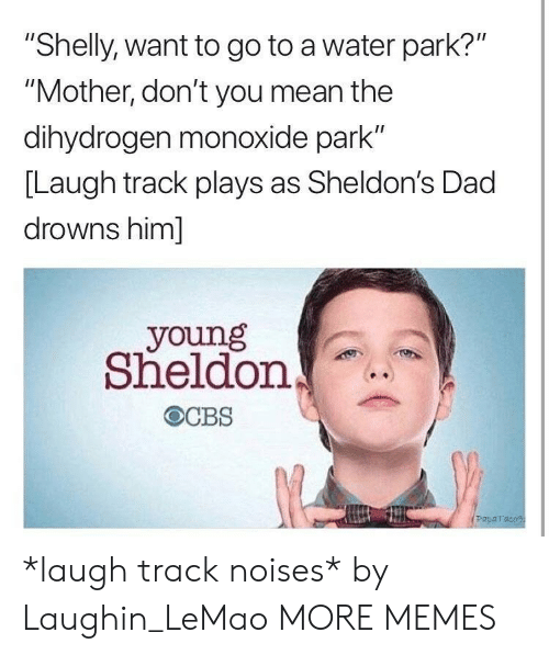 """Laughin: """"Shelly, want to go to a water park?""""  """"Mother, don't you mean the  dihydrogen monoxide park""""  [Laugh track plays as Sheldon's Dad  drowns him]  young  Sheldon  Paparaco *laugh track noises* by Laughin_LeMao MORE MEMES"""