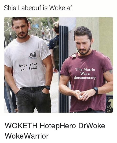 Af, Food, and Shia LaBeouf: Shia Labeouf is Woke af  Grow Your  own food  The Matrix  Was a  documentary WOKETH HotepHero DrWoke WokeWarrior