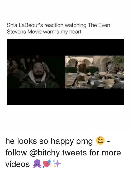 even stevens: Shia LaBeouf's reaction watching The Even  Stevens Movie warms my heart he looks so happy omg 😩 - follow @bitchy.tweets for more videos 🐙💘✨