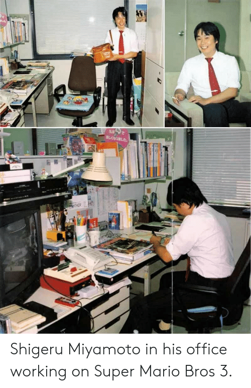 mario bros: Shigeru Miyamoto in his office working on Super Mario Bros 3.
