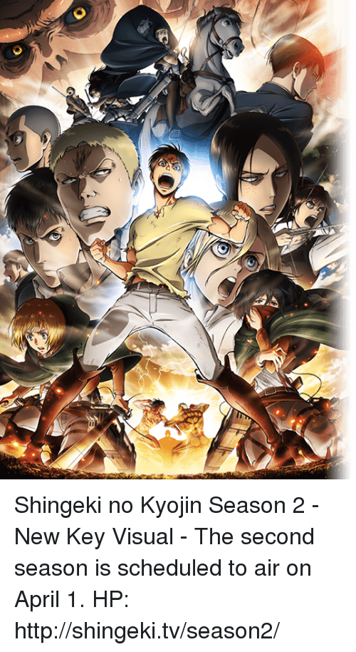 Dank, 🤖, and Visual: Shingeki no Kyojin Season 2 - New Key Visual  - The second season is scheduled to air on April 1. HP: http://shingeki.tv/season2/