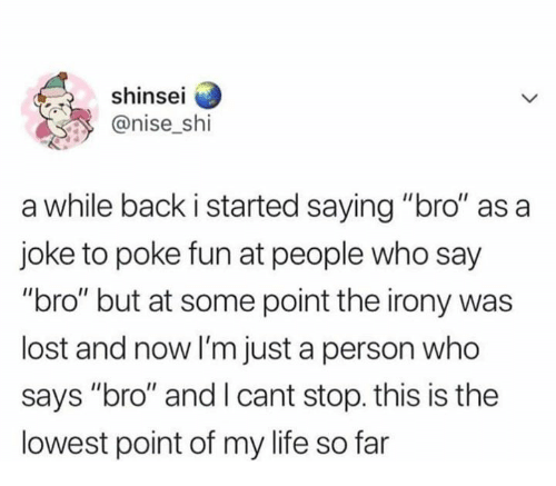 """Irony: shinsei  @nise shi  a while back i started saying """"bro"""" as a  joke to poke fun at people who say  """"bro"""" but at some point the irony was  lost and now I'm just a person who  says """"bro"""" and I cant stop. this is the  lowest point of my life so far"""