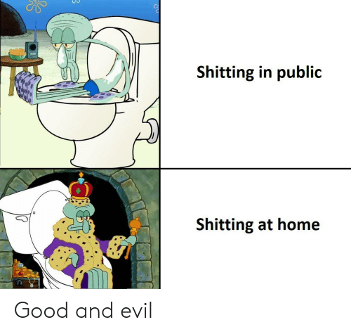 Shitting: Shitting in public  Shitting at home Good and evil