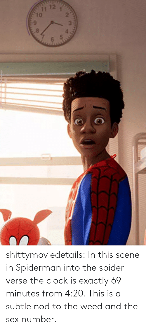 Clock, Sex, and Spider: shittymoviedetails:  In this scene in Spiderman into the spider verse the clock is exactly 69 minutes from 4:20. This is a subtle nod to the weed and the sex number.
