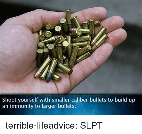 Build Up: Shoot yourself with smaller caliber bullets to build up  an immunity to larger bullets. terrible-lifeadvice:  SLPT