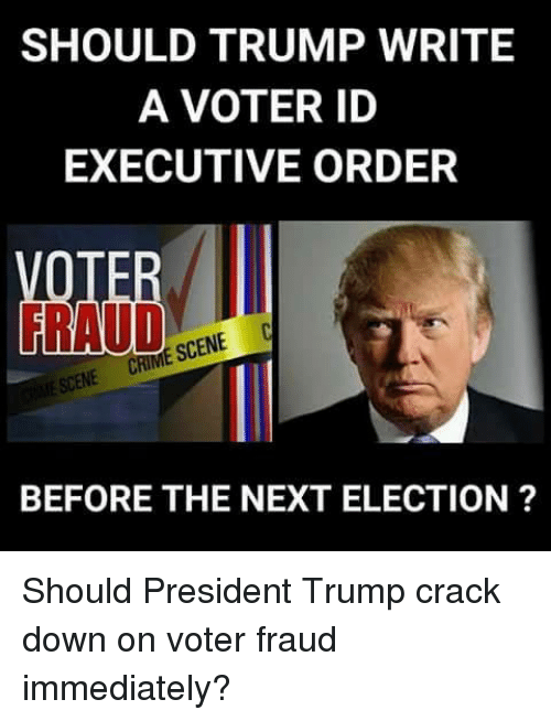 executive order: SHOULD TRUMP WRITE  A VOTER ID  EXECUTIVE ORDER  BEFORE THE NEXT ELECTION ? Should President Trump crack down on voter fraud immediately?