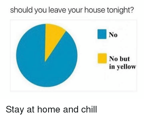 homed: should you leave your house tonight?  No  No but  in yellow Stay at home and chill