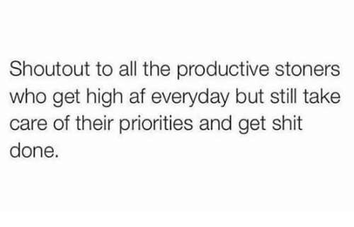 Af, Memes, and Shit: Shoutout to all the productive stoners  who get high af everyday but still take  care of their priorities and get shit  done.