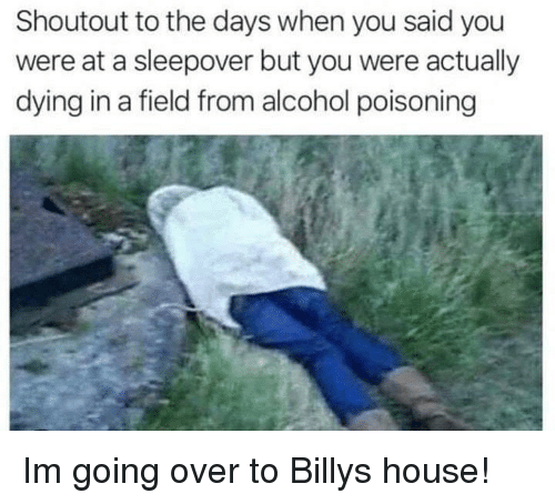 Alcohol, House, and Sleepover: Shoutout to the days when you said you  were at a sleepover but you were actually  dying in a field from alcohol poisoning Im going over to Billys house!